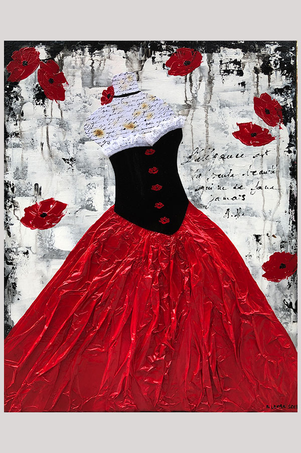 Black, white and red original mixed media modern abstract painting on stretched canvas representing a black and red dress on a dress form and red poppy flowers - Elegance