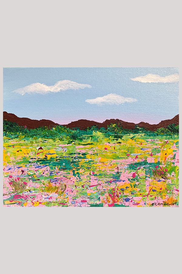 Original abstract landscape acrylic painting featuring colorful fiels of flowers on canvas panel size 8x10 - Les Fleurs Sauvages
