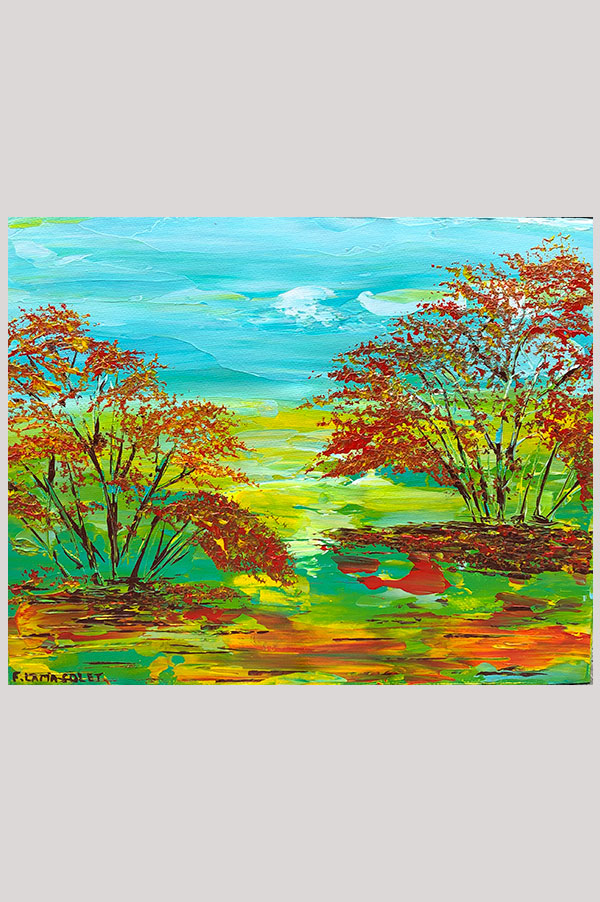Original abstract acrylic painting on canvas panel size 8 x 10 inches featuring a colorful fall landscape artwork using palette knife work - Indian Summer