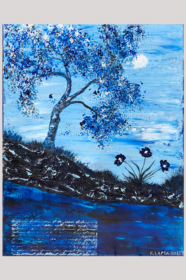 Original monochromatic textured mixed media abstract landscape painting in different shades of blues - Into The Night