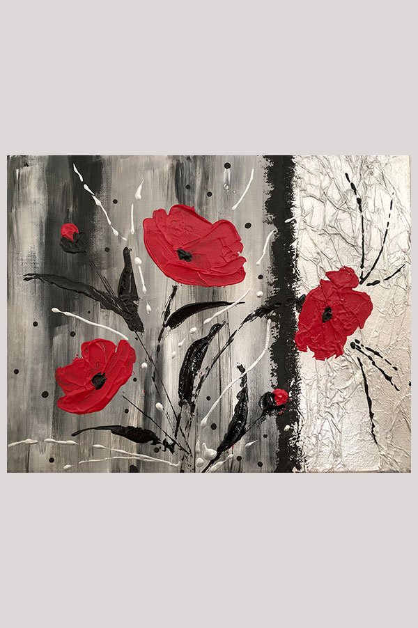 Small original mixed media textured acrylic painting with red poppies on black and grey background – Les Jolis Coquelicots