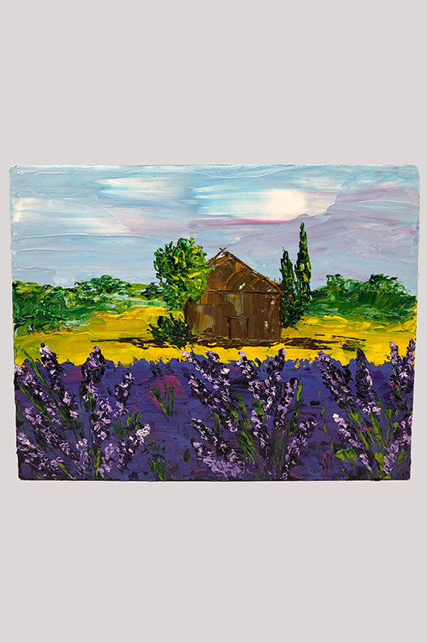 Beautiful original abstract artwork painted with palette knife and featuring French lavender landscape on canvas board - Lavender Fields of Provence