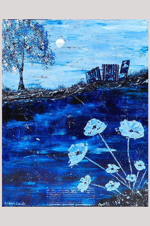 Original monochromatic textured mixed media abstract landscape painting in different shades of blues - Maison Bleue