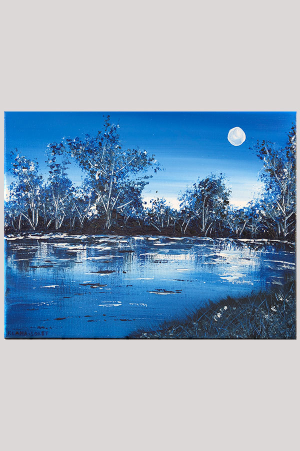 Original contemporary monochromatic blue peaceful abstract painting featuring trees reflection in a lake - Midnight Walk By The Lake