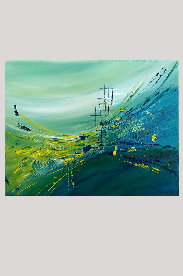 Original contemporary modern abstract painting on stretched canvas in the shades blue, yellow and green - Odyssey1