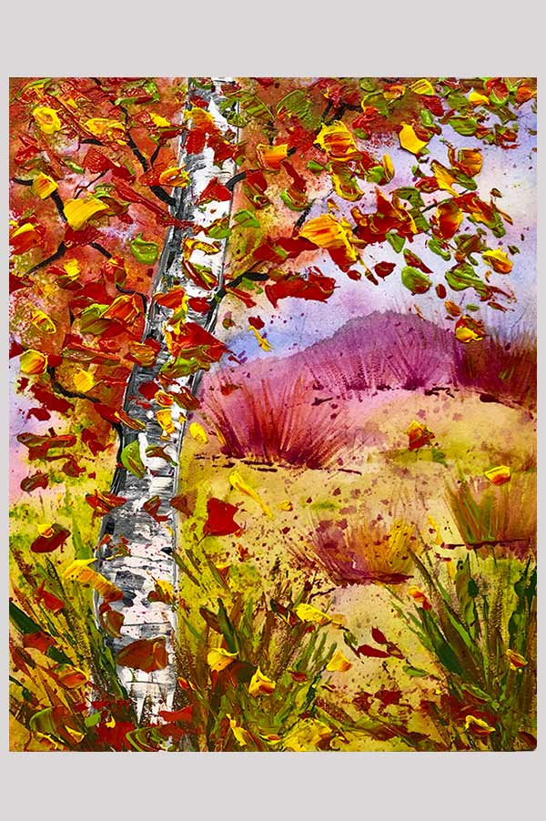 Small mixed media landscape painting featuring an abstract autumn landscape and a birch tree in the fall – Couleurs d'Automne