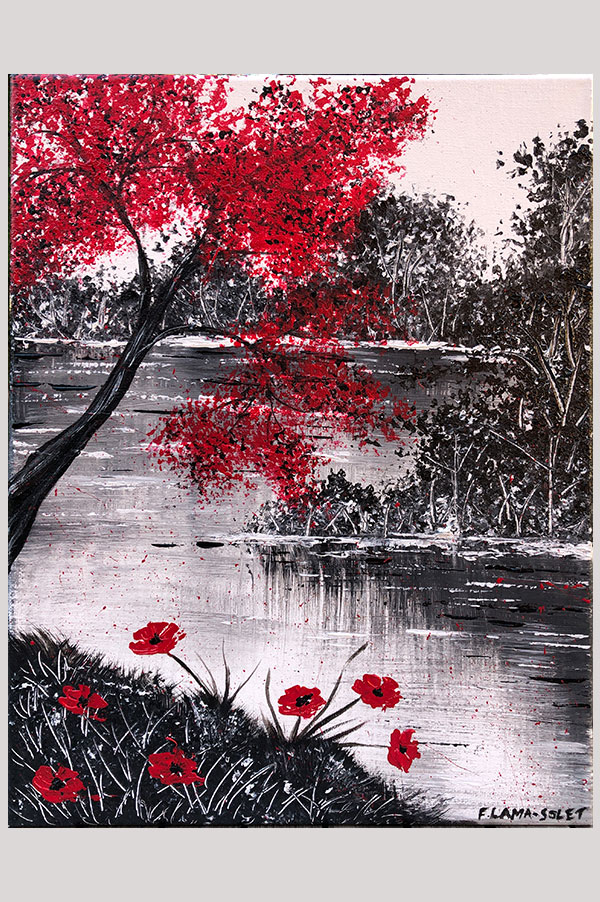 Black, white and red contemporary painting on stretched canvas size 11 x 14 inches featuring a landscape reflecting on a lake with a red tree and red poppy flowers - L'Arbre Rouge et ses Coquelicots