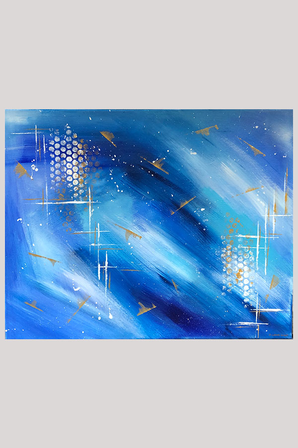 Contemporary modern abstract wall decor in different shades of blue with gold accents painted on stretched canvas with acrylics – Shades of Gold