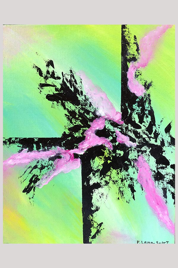 Small colorful contemporary abstract painting in the shades green, pink and black on canvas panel – Spring Light