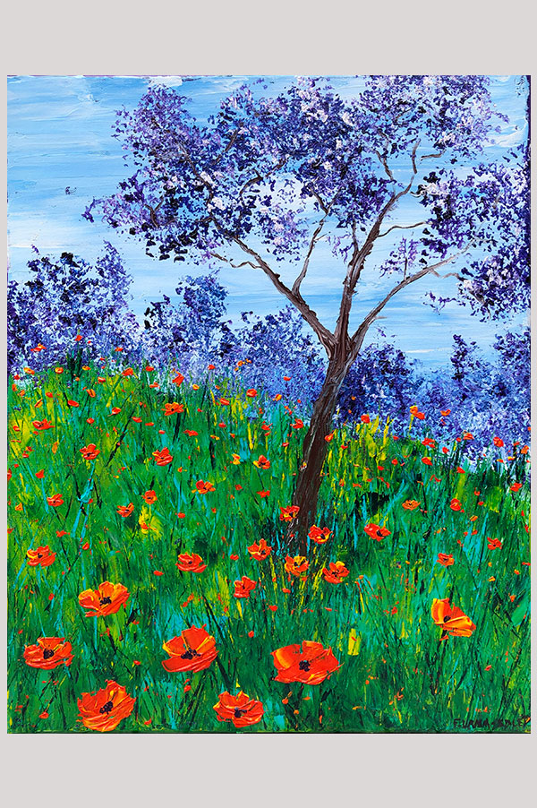 Original colorful abstract landscape painting of California poppies field in bloom - Springtime in California