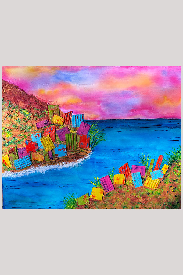 Original contemporary mixed media textured abstract landscape painting representing colorful houses on cliffs - Summer in Italy