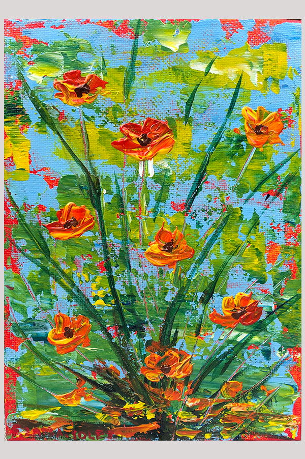 Colorful Original abstract acrylic painting on canvas panel size 5 x 7 inches done with palette knife featuring california poppies - Summer Poppies