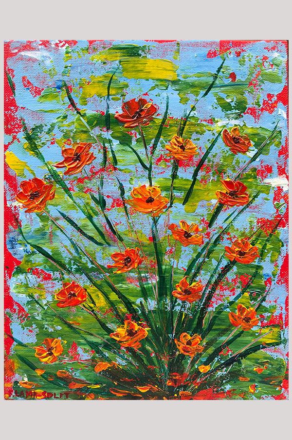 Colorful Original abstract acrylic painting on canvas panel size 8 x 10 inches done with palette knife featuring california poppies - Summer Poppies