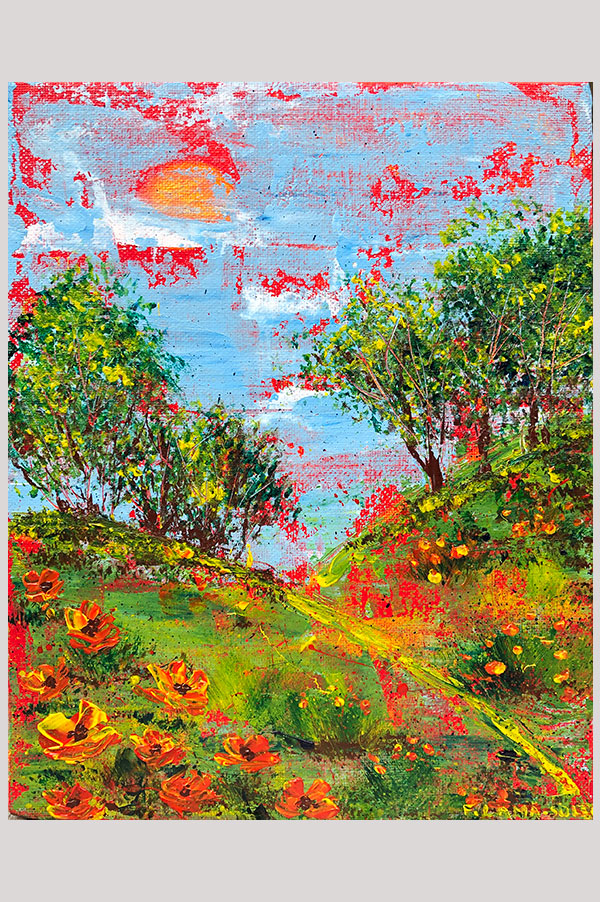 Original abstract acrylic painting on canvas panel size 8 x 10 inches done with palette knife featuring a colorful landscape artwork with california poppies - Summer Walk