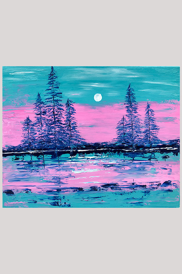 Colorful Original abstract landscape painting on stretched canvas size 20 x 16 inches in the shades mint, teal, blue and pink - Sunset By The Lake