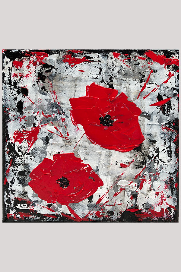 Small black, white and red mixed media art painting on stretched canvas size 6 x 6 inches - Urban Poppies Red
