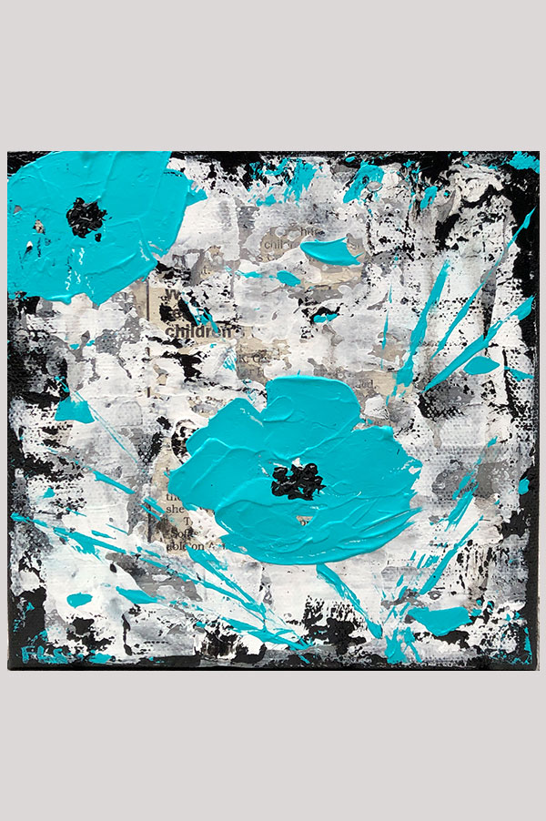 Turquoise, black and white mixed media wall art painting on stretched canvas size 6 x 6 inches - Urban Poppies Teal