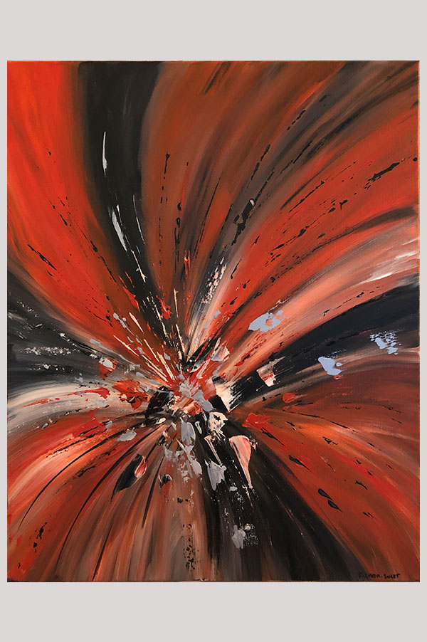 Red and black original contemporary modern abstract painting on stretched canvas with silver accents - Volcano Eruption