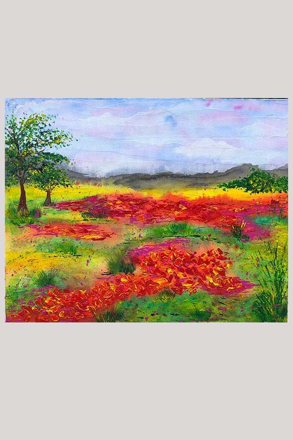 Colorful original mixed media painting on canvas board featuring a textured abstract floral landscape – Wild Blooms