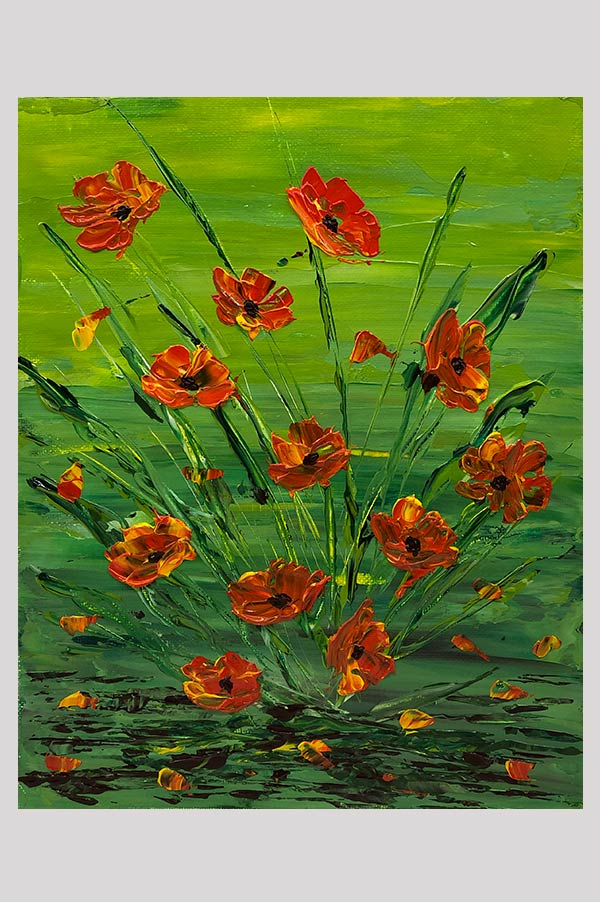 Beautiful original wall art on canvas board painted with abstract orange poppy flowers using a palette knife - Wild Poppies