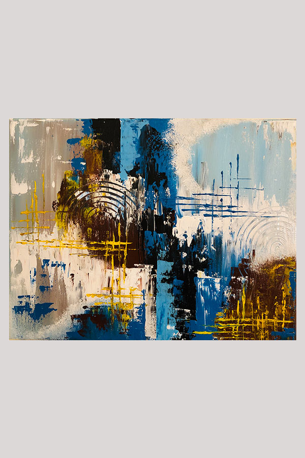 Original contemporary modern abstract painting on stretched canvas in the shades blue, brown, white, black and yellow with palette knife work - Wild