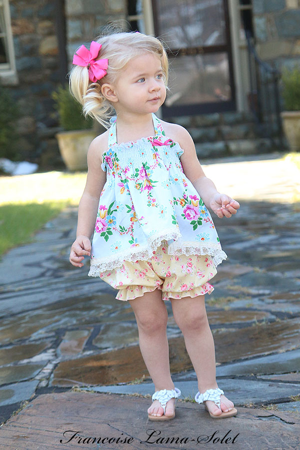 Baby girl toddler spring summer romantic chic pastel blue pink yellow floral halter top bloomers set Annalyse