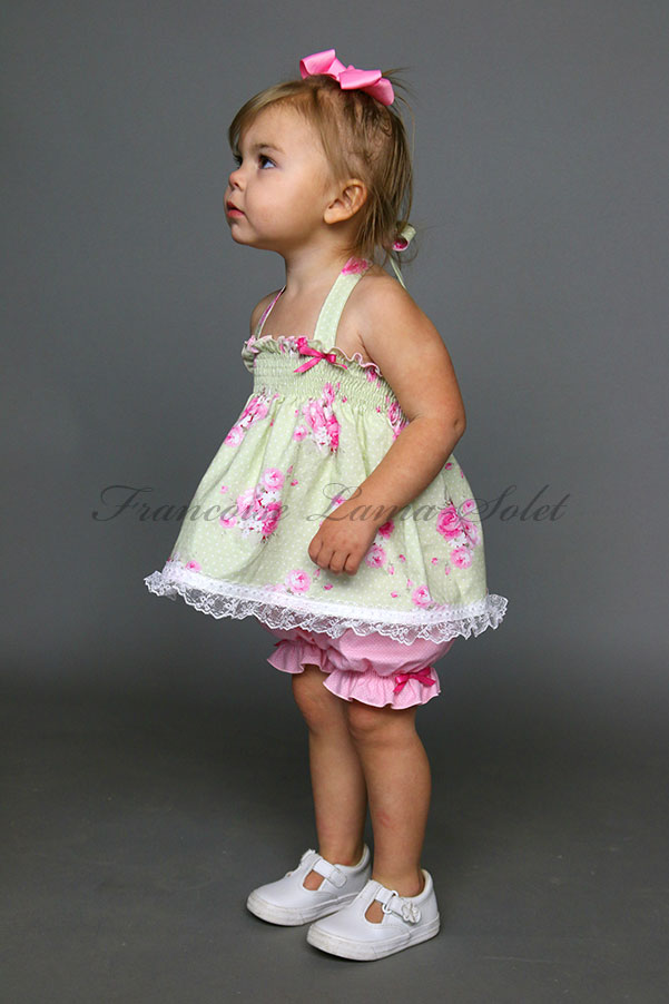 Baby girl toddler Easter birthday pink green romantic chic shabby floral halter top bloomers set Princess Rose