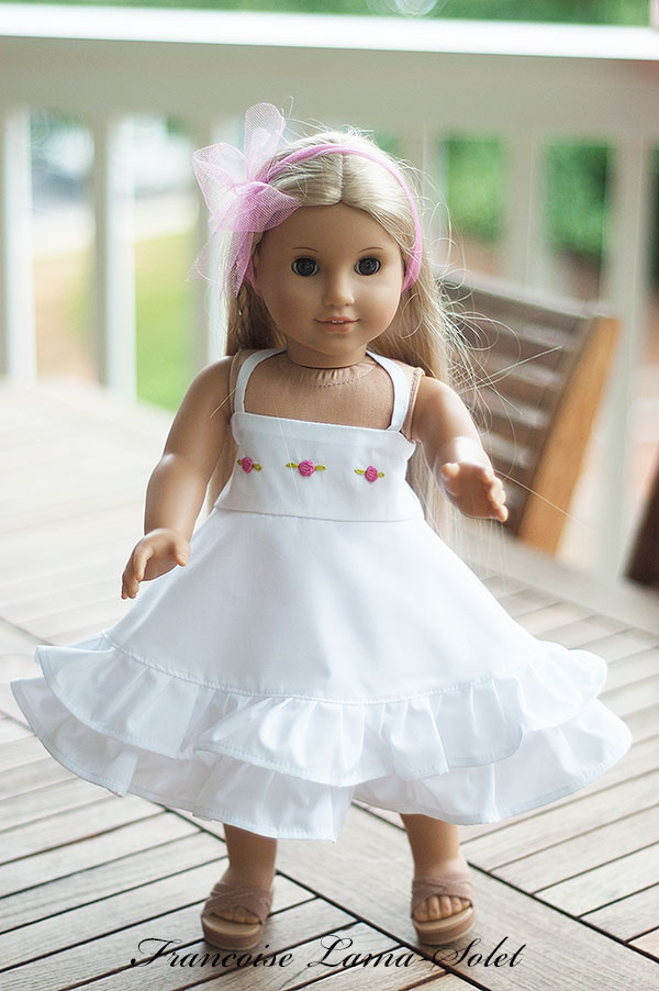 Ruffled white dress for american made girl doll dress size 18 inch Aude