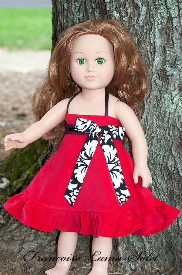 Red black corduroy ruffled twirl dress for dolls 18 inch or 23 inch doll Bella