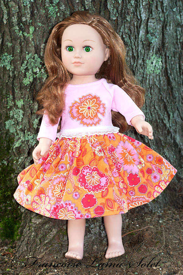 Fall winter pink orange corduroy twirl skirt applique t-shirt for dolls size 18 inch Bright Garden