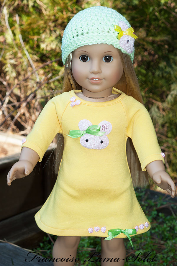 Yellow a-line jersey dress green crochet beanie hat for dolls size 18 inch or 23 inch Easter Bunny