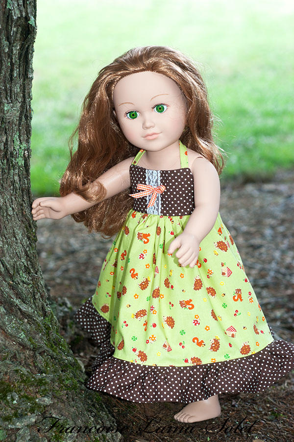 Fall green brown ruffled apron twirl dress for dolls 18 inch Fall Colors