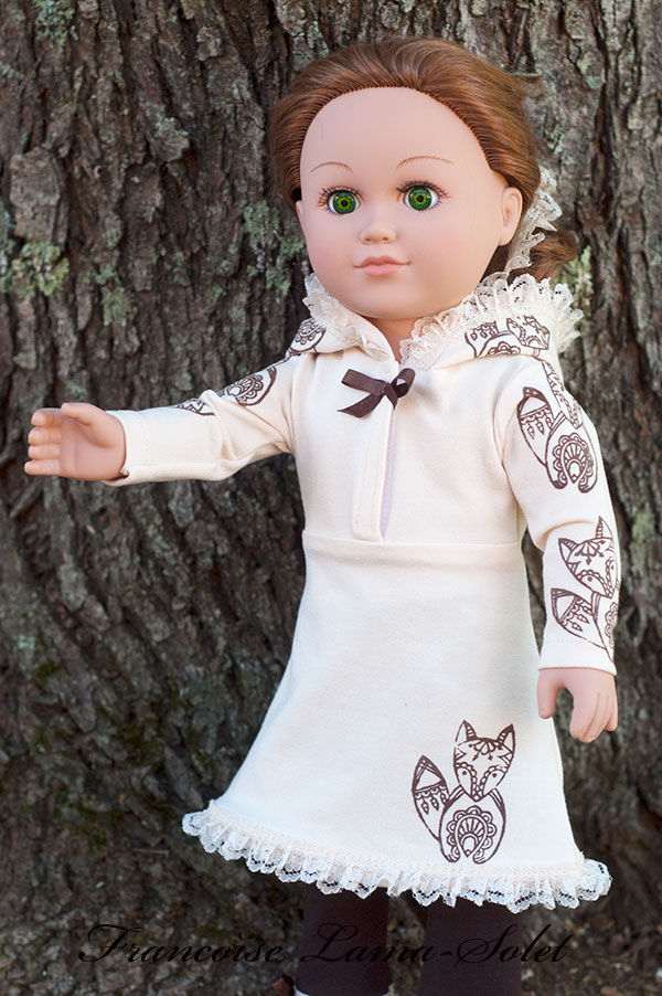 Fall winter hand printed jersey hoodie dress brown leggings for dolls size 18 or 23 inch Fox