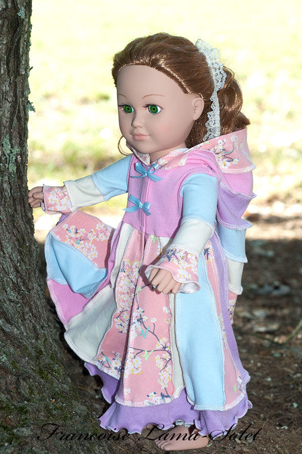 Unique patchwork floral pixie hood gypsy coat elf jacket for dolls 18 inch Gipsy Pink