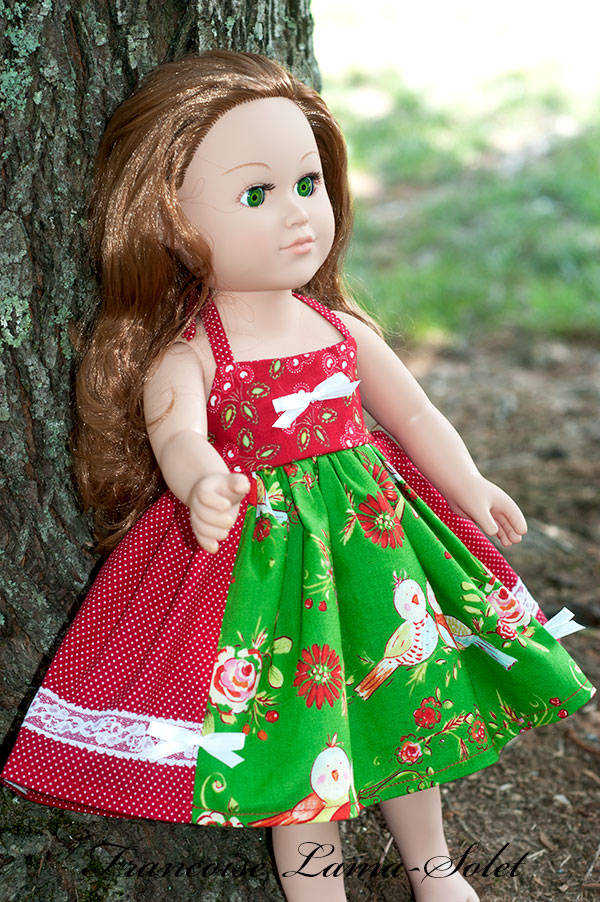Handmade patchwork floral red green apron twirl dress for 18 inch dolls Holiday Birds
