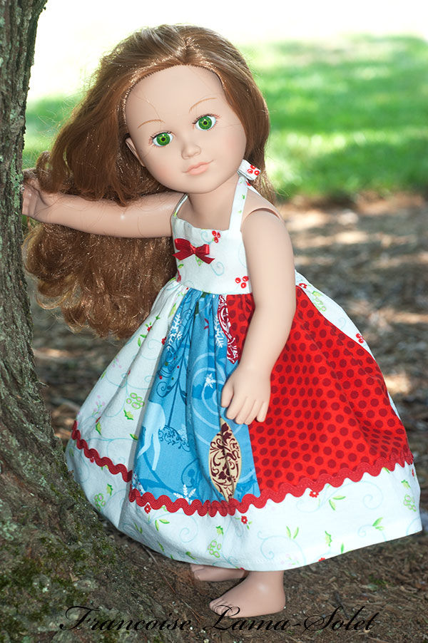 andmade Christmas patchwork floral red blue white apron twirl dress for 18 inch dolls Holiday Season