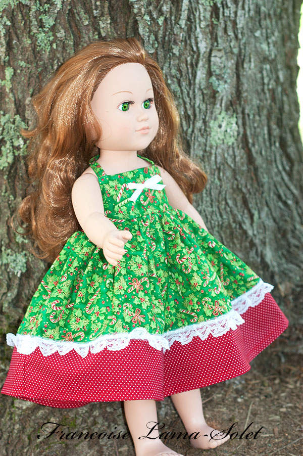 One of a kind Christmas candy cane red green apron twirl dress for 18 inch dolls Holidays