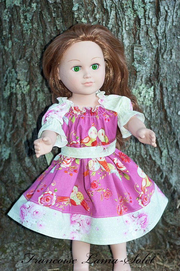 Pink floral peasant dress for 18 inch dolls Love Bird on Pink
