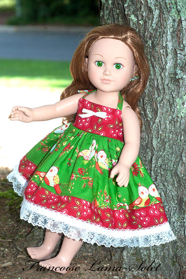 One of a kind Christmas floral red green apron twirl dress for 18 inch dolls Love Birds on Green
