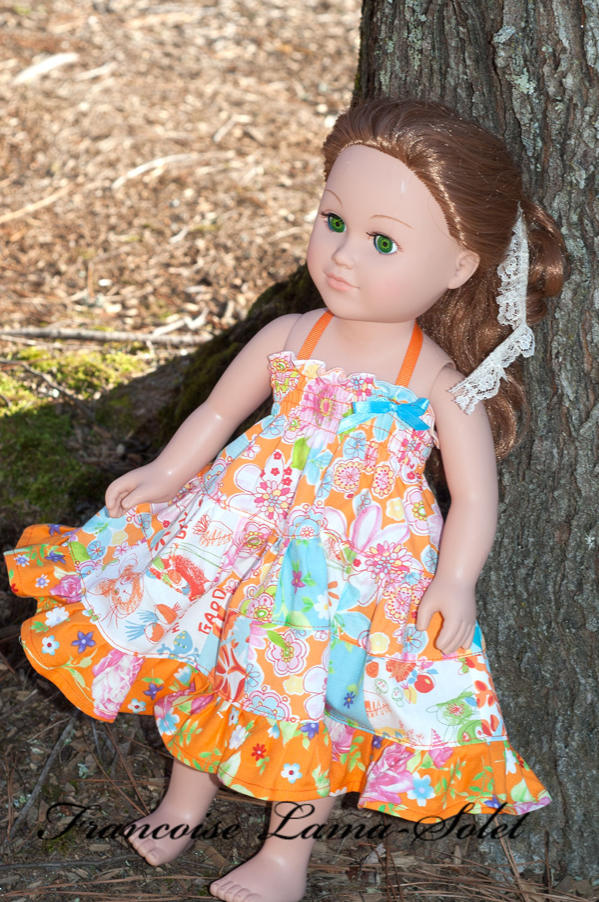 Handmade patchwork floral orange turquoise white ruffled twirl dress for american 18 inch dolls Mango