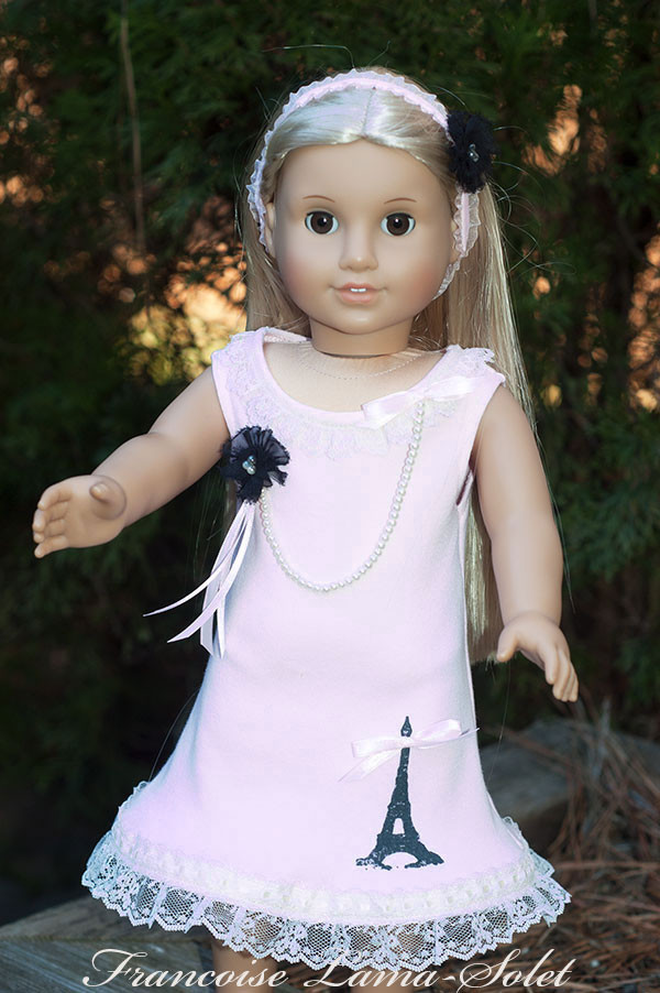 Romantic chic shabby pink black Eiffel Tower dress for dolls size 18 or 23 inch Paris Vintage