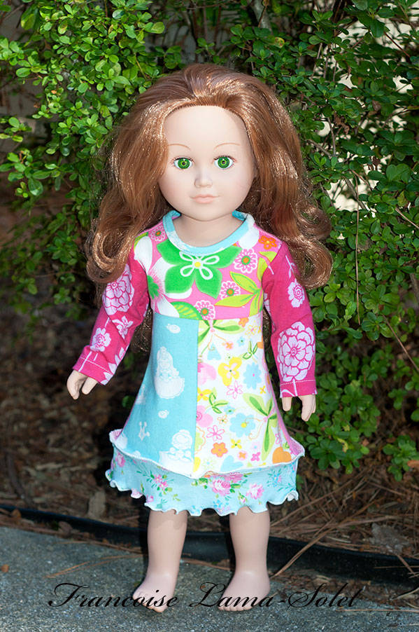 Handmade long sleeve patchwork floral jersey dress for 18 or 23 inch dolls Princess Day