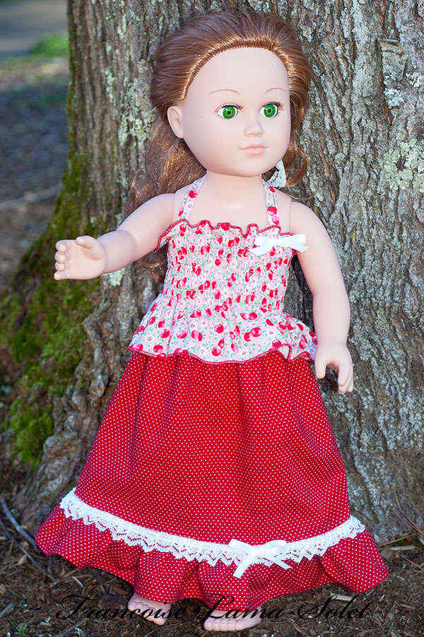 Handmade spring red pink boho maxi skirt and halter top outfit for dolls size 18 or 23 inch Retro Cherry