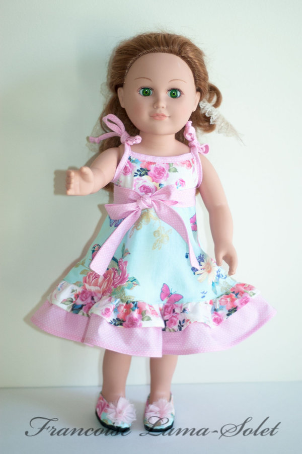 Romantic chic shabby pink blue floral twirl dress with birds for dolls size 18 or 23 inch Roses