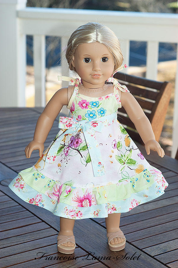 Romantic chic ruffled dress handmade with shabby floral prints for 18 or 23 inch dolls Songbird