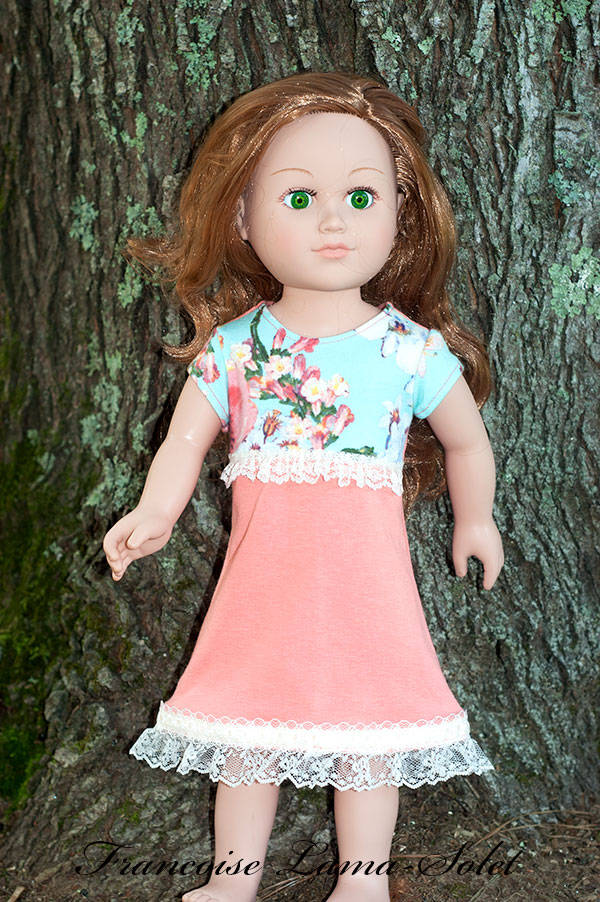 One of a kind short sleeve jersey dress for 18 inch doll Sorbet