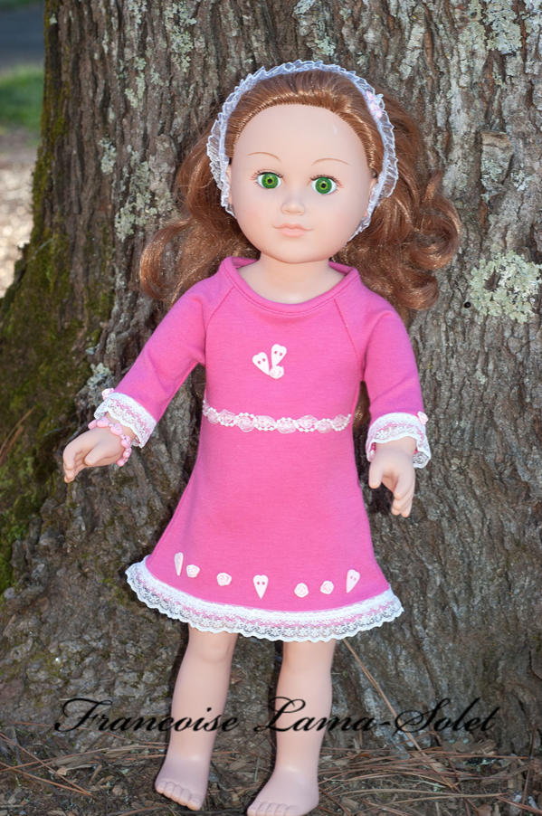 Long sleeve Valentine dress for 18 inch dolls, handamde with pink jersey and heart buttons