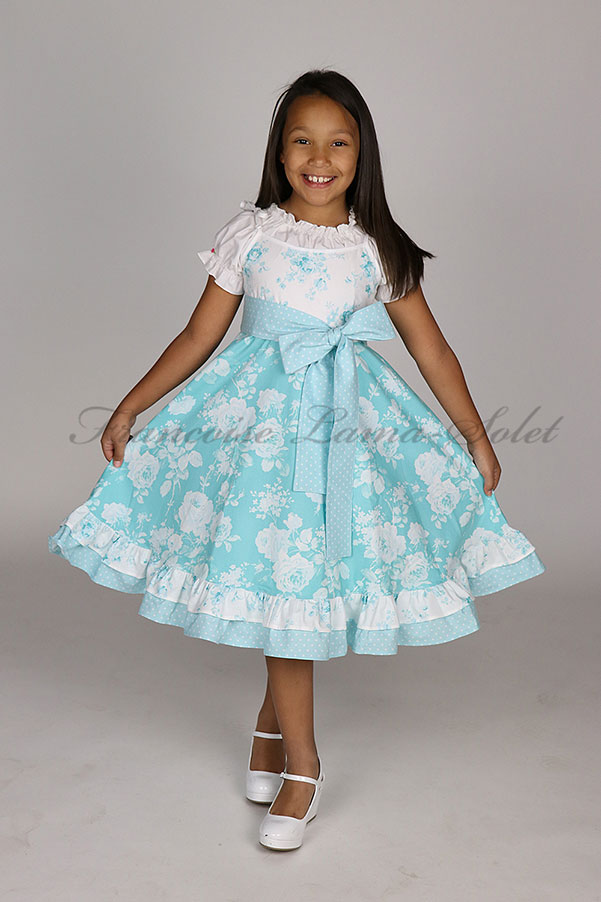 Girl's romantic chic floral ruffled twirl dress handmade with white and blue cotton prints Blue Roses