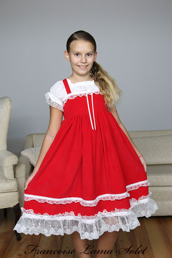 Girl's Christmas twirl dress handmade with red corduroy and white lace trims and ruffles Clara
