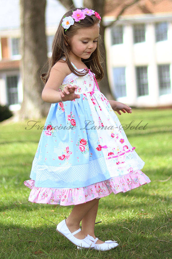 Girl's romantic patchwork ruffled twirl dress handmade with shabby floral pink and blue prints Country Rose Blue